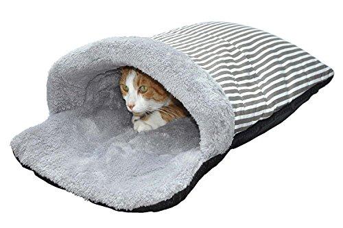 """nanook niche corbeille poche pour chats """"Eddy"""" - Taille 65 x 40 cm - design gris - beige rayé"""