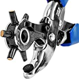 S&R Professional Revolver Hole Punch Pliers /MADE IN GERMANY/ Heavy Duty Punching Tool 6 OVAL holes: 5.7 x 3.8 mm, 4.6 x 3.0 mm, 6.3 x 3.5 mm, 7.3 x 4.3 mm, 7, 8 x 3.0 mm (slot), 6.0 x 3.0 mm (Rectangle)