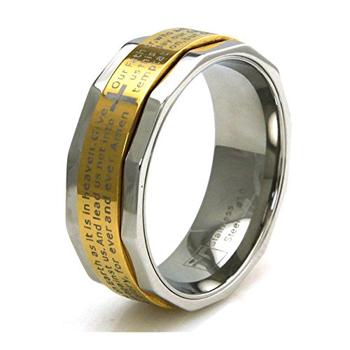 Two Tone Stainless Steel Lord's Prayer Spinner Ring - Size 9.5 -  West Coast Jewelry, EWC-R30345Y-9.5