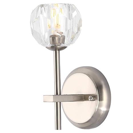 on sale 312aa 3c2d0 Modern 1-Light Wall Sconce/ Bathroom Light ,Crystal Shade +Brushed Nickel  Finish