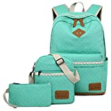 Canvas Students Backpack Casual School Bookbag for Teens Girls (Water Blue)