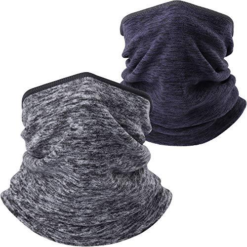 AXBXCX Fleece Neck Warmer Unisex - Windproof Neck Gaiter Tube Face Mask Ear Warmer Headband Mask & Beanie for Ski Snowmobile ATV Riding Fishing Running Motorcycles Gray + Blue