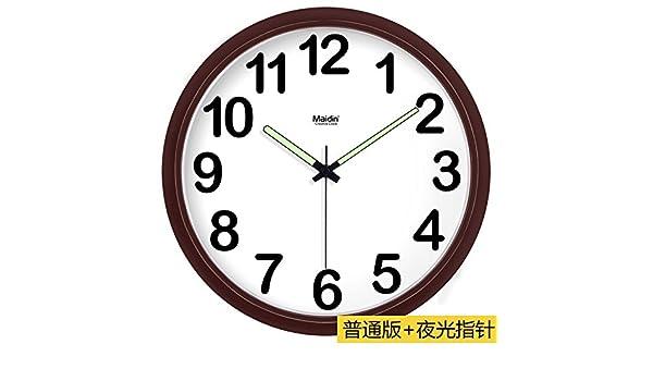 BYLE Silencio de Moda creativa reloj minimalista moderno arte digital dibujo reloj de cuarzo Reloj de pared para la decoración del hogar, Brown -036 básica: ...