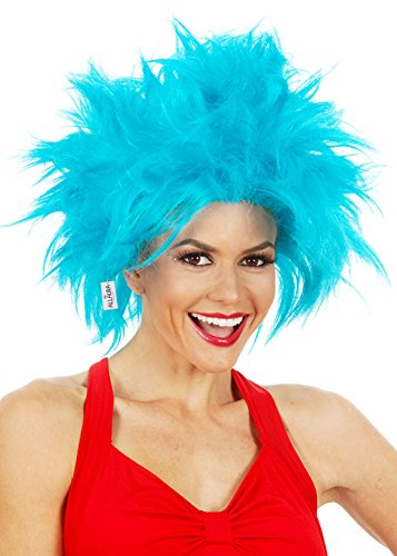 Ariel Costume Australia (Funky Blue Thing Wig. One Size Fits Kids & Adults. Blue Rick Morty Wig. Crazy Men Women Blue Hair)