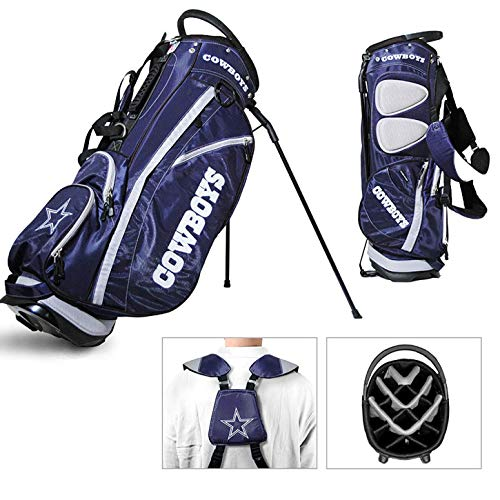 Team Golf NFL Dallas Cowboys Fairway Golf Stand Bag, Lightweight, 14-way Top, Spring Action Stand, Insulated Cooler Pocket, Padded Strap, Umbrella Holder & Removable Rain Hood