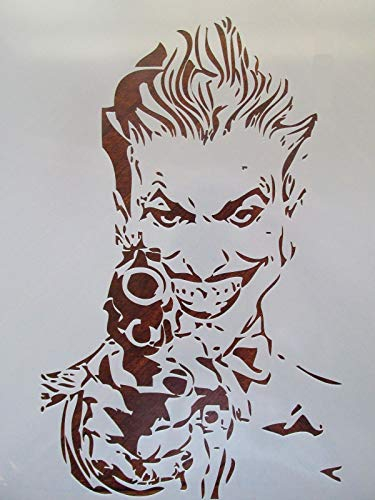 Crazy Discount Batman Joker with Gun Reusable Stencil for Painting on Wood, Airbrush 10 mil Mylar Laser Cut, 5