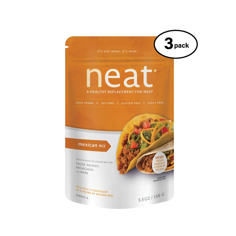 neat - Plant-Based - Mexican Mix (5.5 oz.) (Pack of 3) - Non-GMO, Gluten-Free, Soy Free, Meat Substitute Mix