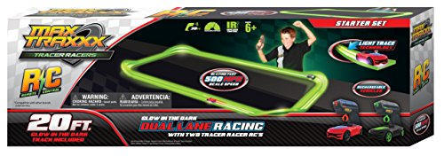 Max Traxxx R/C Tracer Racers High Speed Remote Control Starter Track Set with Two Cars for Dual Racing Electric Racing Slot Cars