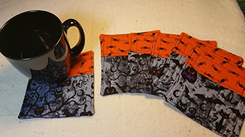 [Frightful But Delightful Quilted Halloween Coasters - Set of 6 and Free Shipping!] (Halloween Free Shipping)
