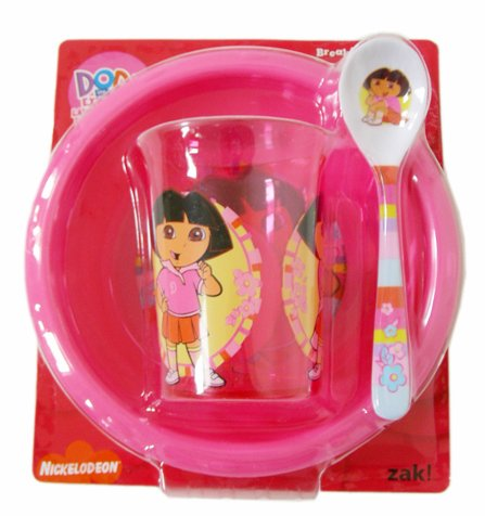 Nick Jr Breakfast Set - Dora The Explorer Tumbler, Bowl, and Spoon 3 pcs set Zak Designs dora-mealset42832-bx17b-e39