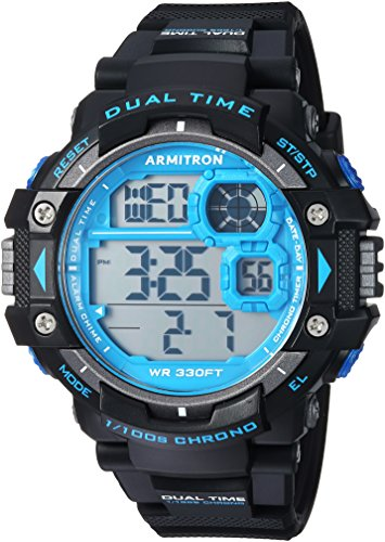 - Armitron Sport Men's 40/8309BLU Blue Accented Digital Chronograph Black Resin Strap Watch