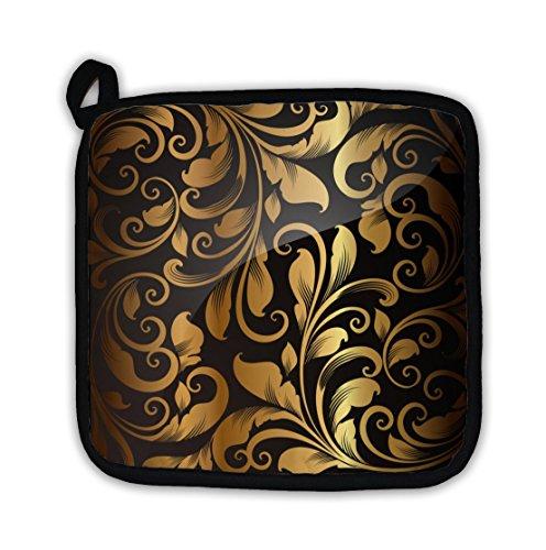 Gear New Pot Holder, Wallpaper Pattern Gold, GN22397 Kitchen Grips Silicone Pot Holder