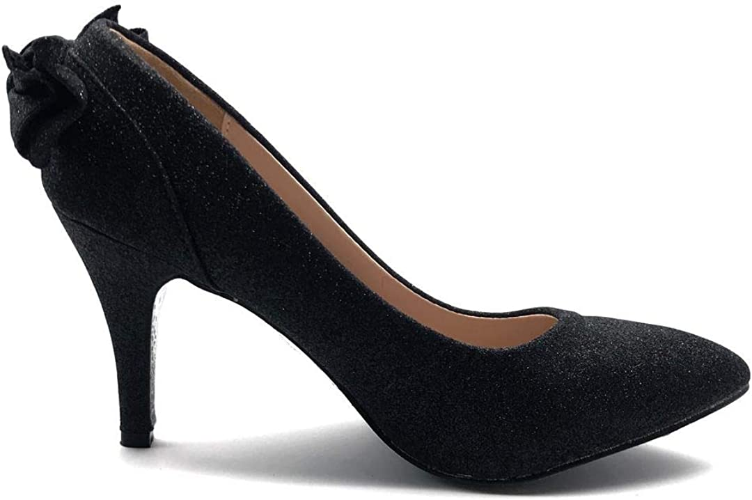 Angkorly Chaussure Mode Escarpin Hauts Talons soir/ée Mariage c/ér/émonie Femme Noeud Strass Glitter Paillettes Talon Haut Aiguille 8.5 CM