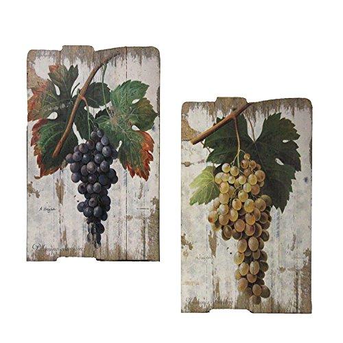 Urban Designs Vintage Vineyard Wooden Prints Wall Art - Set of 2 Grapes (Sonoma Vineyards Merlot)