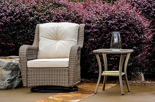 Tortuga Outdoor Rio Vista Wicker Bistro Set - Swivel Glider Chairs and Side Table (2 Piece - Chair and Table)