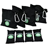 Dermomama Natural Air Purifying Bag Odor Eliminator and Absorber Fragrance and Chemical Charcoal Color for Shoe Car Room Basement Pet Litter Box Closet Recyclable and Reusable 4 large 4 small