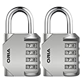 ORIA Combination Padlock, 4-Digit Combination Locks, 2 Pack Padlock, Metal and Plated Steel Material for School, Employee, Gym & Sports Locker, Case, Toolbox, Fence, Hasp Cabinet & Storage - Silver