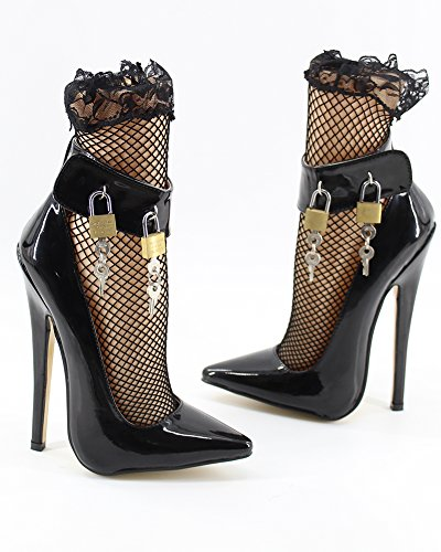 Sexy Pointu De Talon Cadenas Pompes Wonderheel De Stilleto Cheville Talon Fétichisme Sangle 7 Bout qHHw4zfv