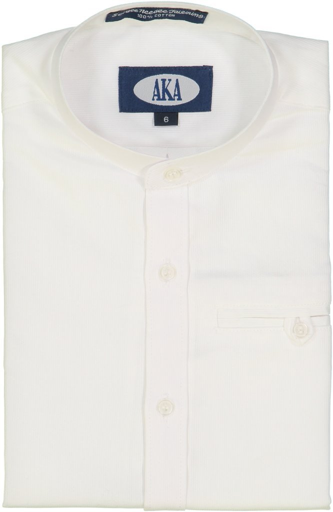 AKA Boys Dress Shirt White Mandarin Collar Long Sleeve - Pearl Button 4