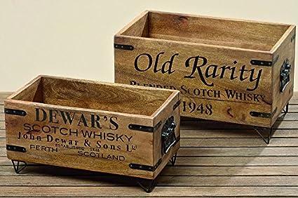 2 Stk Caja de madera Scotch Whiskey Cory Madera Cajas Vintage Nostalgie marrón negro de la