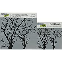 "The Crafter's Workshop Set of 2 Stencils - Branches Reversed 12"" x 12"" Mini 6"" x 6"" - Includes 1 each TCW251 and TCW251s - Bundle 2 Items"