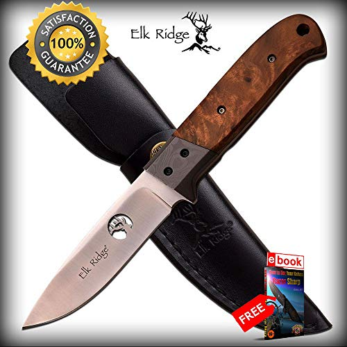 FIXED BLADE HUNTING SHARP KNIFE Elk Ridge 8'' Burl Wood Skinner Blade + Leather Sheath Combat Tactical Knife + eBOOK by Moon Knives