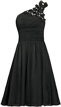 0a0e79259 ANTS Women's Chiffon One Shoulder Prom Dress Short Evening Dress Size 2 US  Black