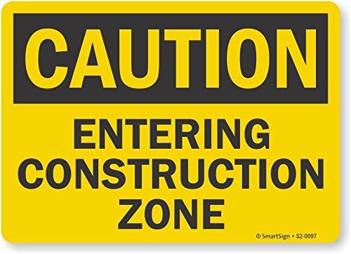 "SmartSign by Lyle S2-0097-PL-10 ""Caution - Entering Construction Zone"" Plastic Sign"