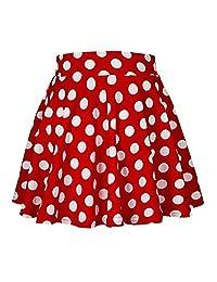 Jamlynbo Womens Basic Solid Stretchy High Waist A-Line Fleated Polka Dot Skater Mini Skirts