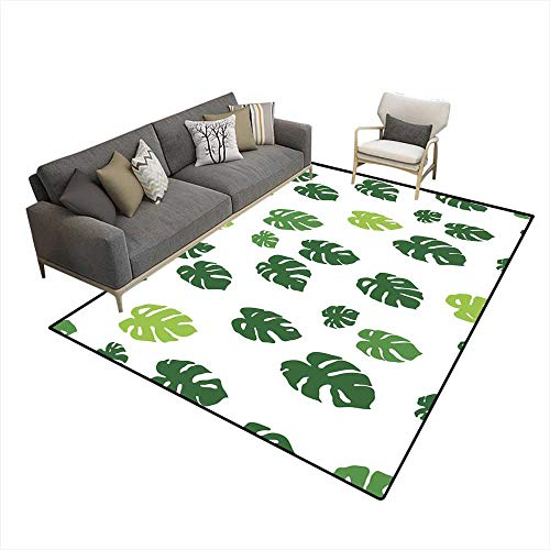Room Home Bedroom Carpet Floor Mat Monstera Leaves Cheese Plant Seamless Pattern Wallpaper Background