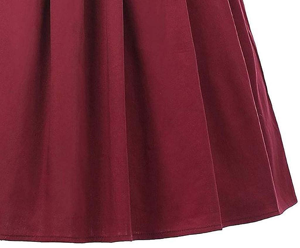 iYmitz Sommer Damen Faltenrock Retro Hei/ßer l/ässig Tutu Taille Blumen Rock Halbe L/änge 1920s Drucken Vintage/Kleid