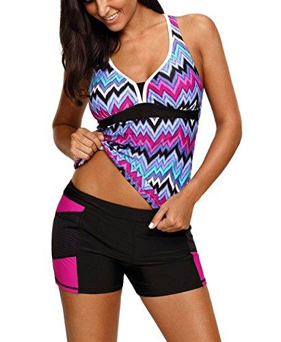 JomeDesign Womens Bathing Suit Stripes Racerback Tankini Top with Boyshorts Swimsuit Purple L