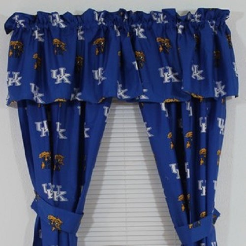 Kentucky Wildcats - (1) Printed Curtain Valance/Drape Set (Drape Length 63 Inches) To Decorate One Window - NCAA College Licensed Window Treatment