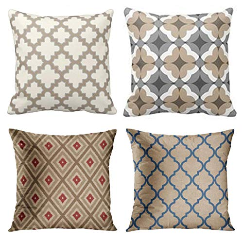 (Emvency Set of 4 Throw Pillow Covers Quatrefoil Tan and Pattern Modern Moroccan Cream Grey Gray Floral Decorative Pillow Cases Home Decor Square 18x18 Inches Pillowcases)