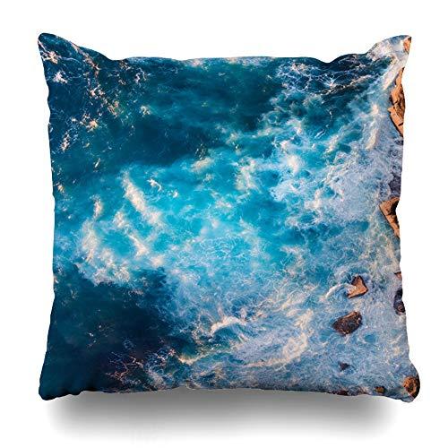 Ahawoso Throw Pillow Cover Cliff Blue Beach Aerial View Wave Foam Rock Sea Nature Ocean Australian Bay Design Zippered Pillowcase Square Size 16x16 Inches Home Decor Pillow Case