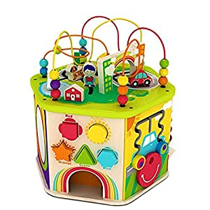 Deluxe 7 In 1 Bead Maze Cube Activity Center Multifunctional With Turning Base Toys