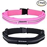 Cage-YYL Running Belt – Reflective Waist Pack – iPhone 6, 7, 8, X Plus Pouch for Runners – 2 Packs – Black & Pink