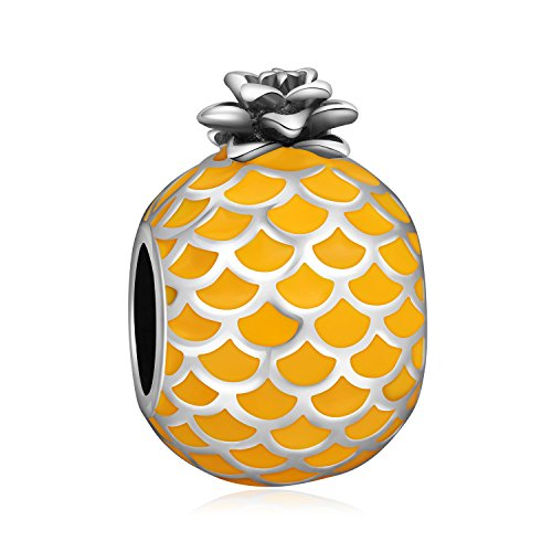 LONAGO Pineapple Fruit Charm 925 Sterling Silver Yellow Gold Enamel Bead Fit Bracelet & Necklace (Pineapple Charm)