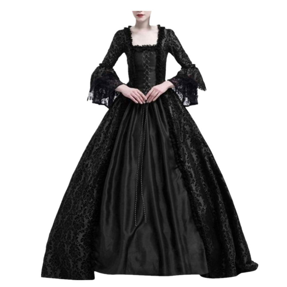 Women Halloween Medieval Victorian Cosplay Costume,Renaissance Gothic Princess Party Dresses Black by sweetnice Women Dresses
