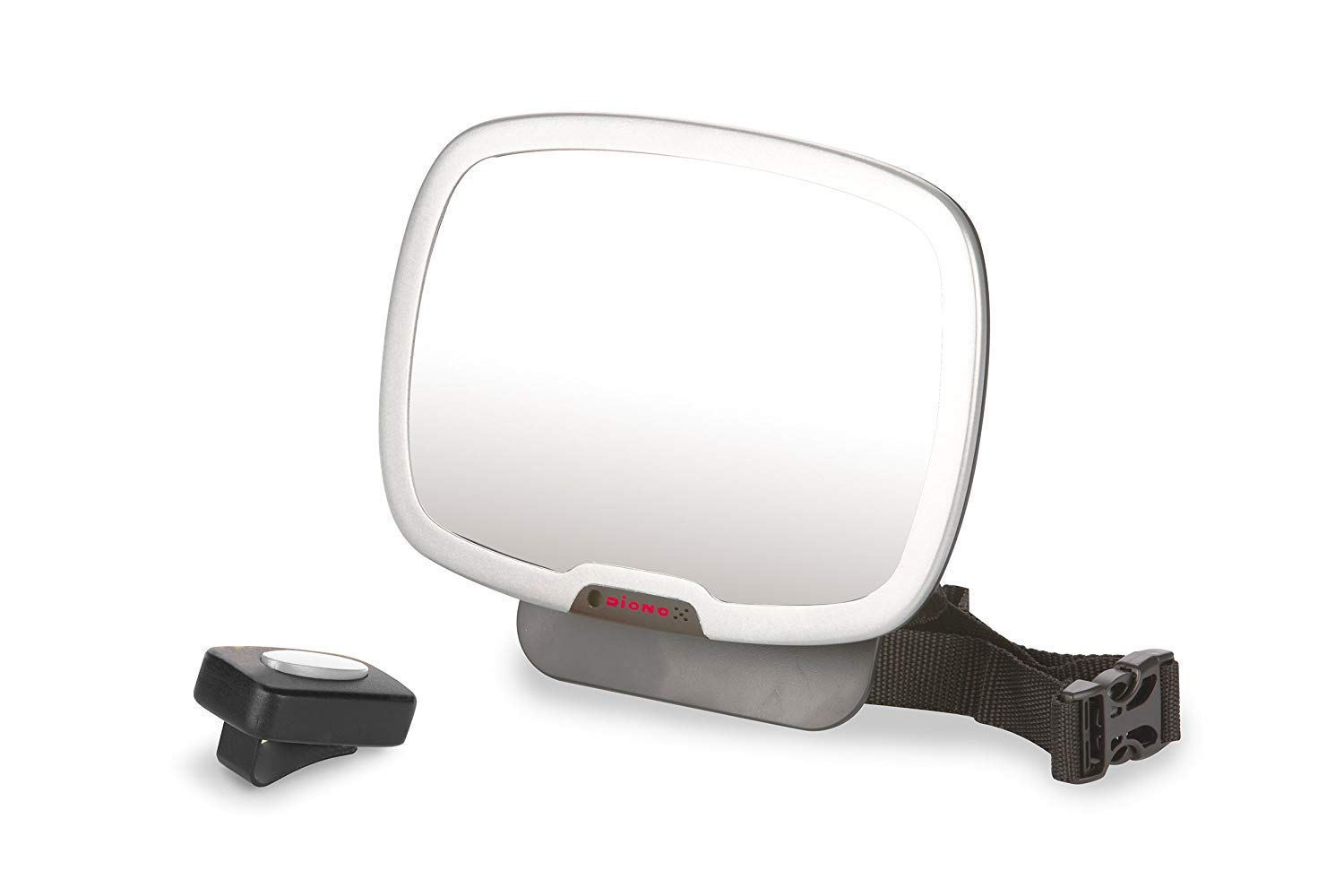 Diono Easy View Plus, Adjustable Back Seat Mirror with Remote-Controlled LED Light, Black and Silver