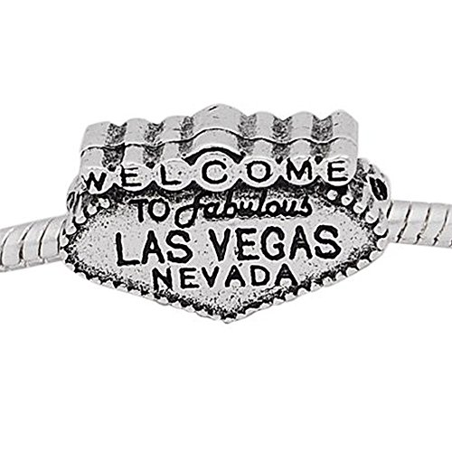 Buckets of Beads Welcome to Las Vegas Poker Charm Bead Fits Pandora Troll Biagi Zable, Set of 4 (Bucket Welcome)