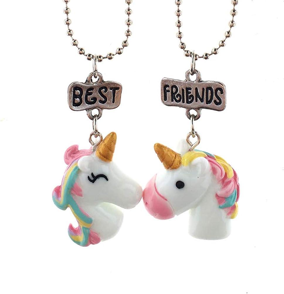 2 pcs estéreo collar de joyas de los niños del unicornio collar colgante colgante de los mejores amigos Amistad collares colgante collar de regalos del unicornio del arco iris