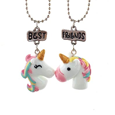 7403e3e9b05f 2 pcs estéreo collar de joyas de los niños del unicornio collar colgante  colgante de los mejores amigos Amistad collares colgante collar de regalos  ...