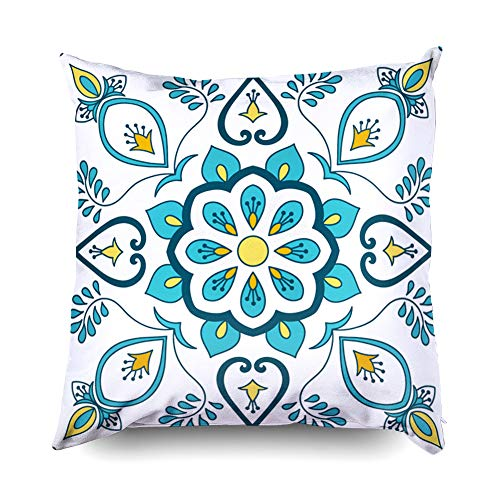 (Shorping Pillow Covers,16x16 Inch Decorative Pillowcase for Home Décor Cusion Covers Portuguese Tile Pattern Vector with Floral Ornaments Motifs Portugal azulejo Mexican Talavera spanis)