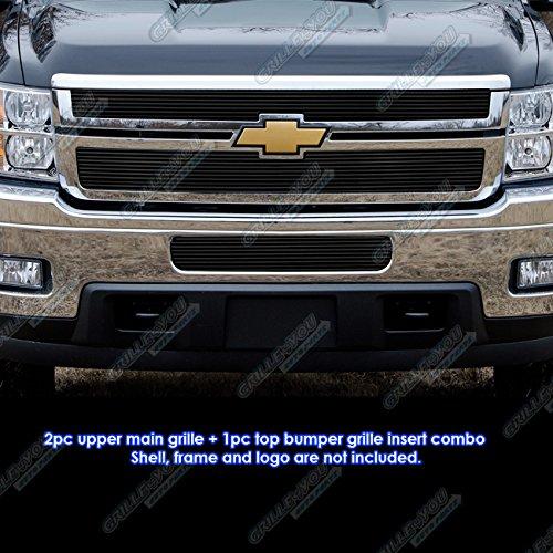 2011-2014 Chevy Silverado 2500HD/3500HD Black Billet Grille Grill Combo Insert # C61031H
