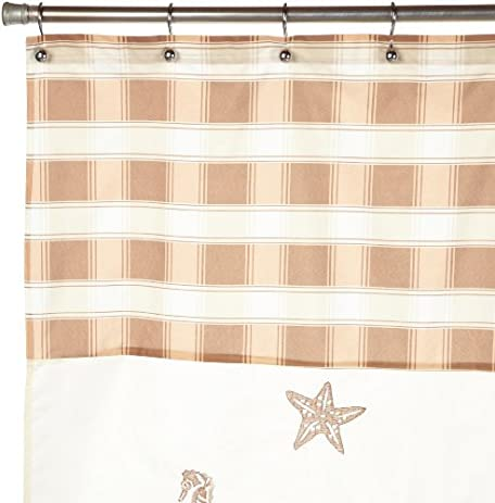 Perry Shell Embroidered Shower Curtain Gold