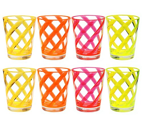 (QG 8 pc Acrylic 16 Ounce Neon Color Stripes Juice Cup with Clear Heavy Base Plastic Tumbler Set in 4 Assorted Colors)