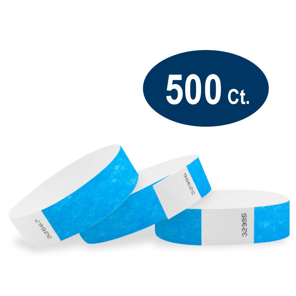 Wristco Neon Blue 3/4'' Tyvek Wristbands - 500 Pack Paper Wristbands For Events