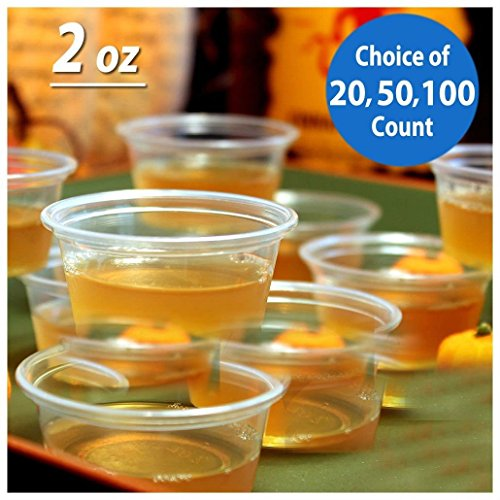 Souffle Large (2oz Large Jello Jelly Shot Souffle Portion Cups with Lids Option, Clear Plastic (100 CUPS NO LIDS))