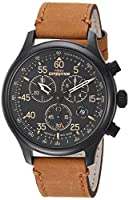 Timex MenGÇÖs TW4B12300 Expedition Rugged Field Chronograph Tan/Black Leather Strap Watch